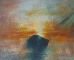 Manifold_Harley_sunset_study_2007_Oil_on_board_15x21