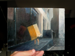 Oil on primed canvas board (that leg needs a little fixing! oops)